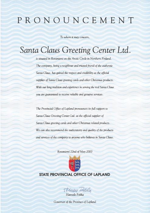Certificato di autenticità della Lettera di Babbo Natale