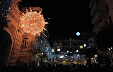 Luci d'artista a Salerno, particolare delle luminarie