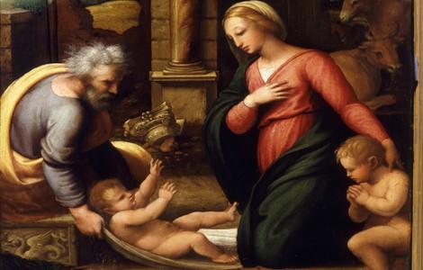 Sacra Famiglia e San Giovannino (P. Del Vaga), particolare