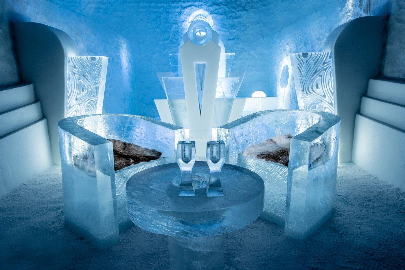 Salottino dell'IceHotel Jukkasjärvi, Lapponia svedese