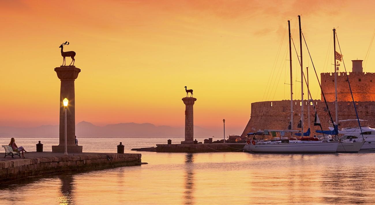 Porto dell'isola di Rodi, Grecia