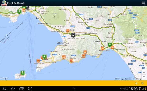 Eventi FullTravel, una schermata dell'app