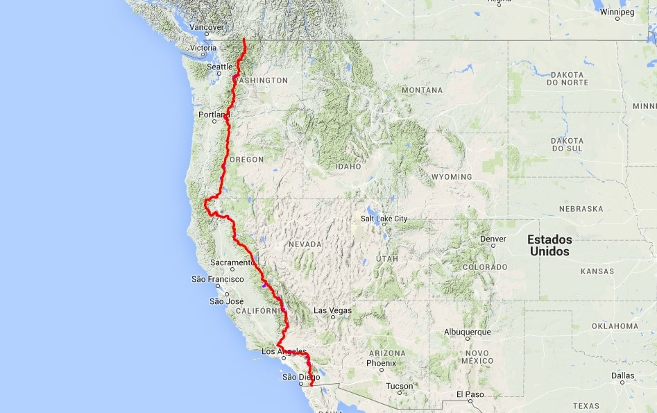 Mappa del Pacific Crest Trail Map