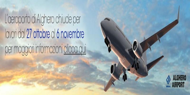 Aeroporto Alghero, chiusura programmata per lavori