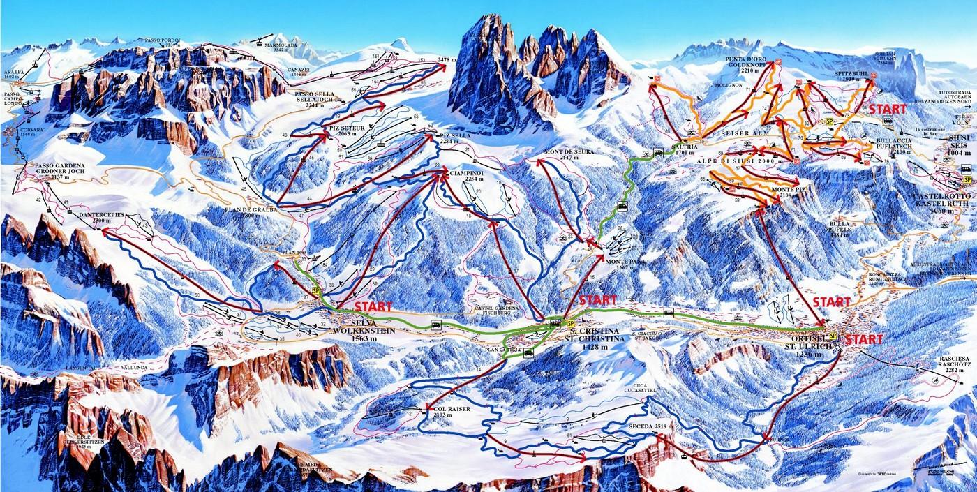 Piste da sci in Val Gardena, Alto Adige