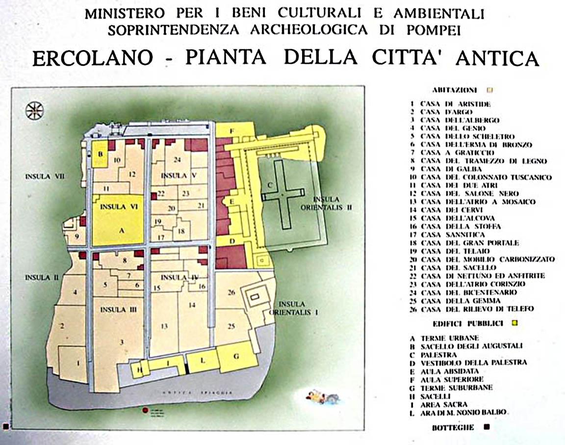 Mappa scavi Ercolano - Cartina dettagliata dell'antica città