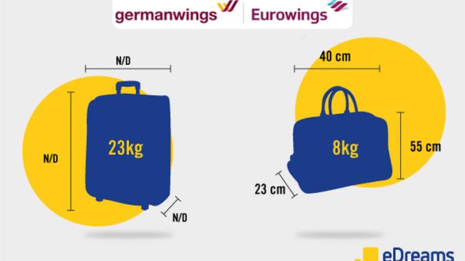 Germanwings, bagagli - Misure e peso