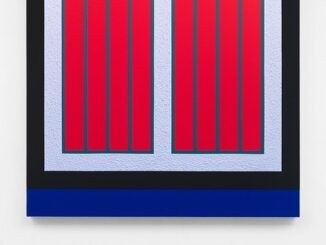 Peter Halley, Untitled, 2015, fluorescent acrylic and Roll-a-Tex on canvas