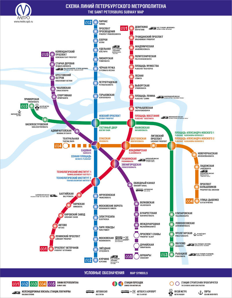 Mappa metropolitana San Pietroburgo