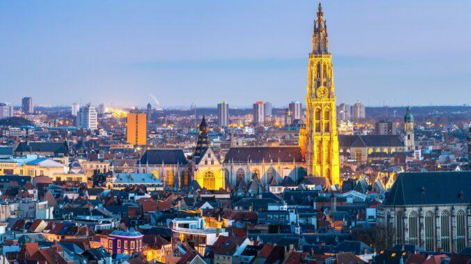 Panorama di Anversa nelle Fiandre, Belgio