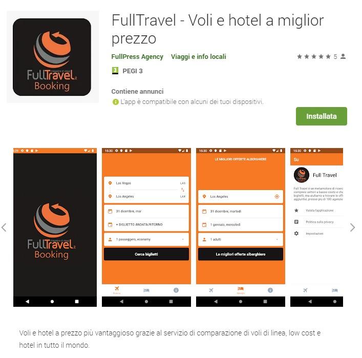 App FullTravel, voli e hotel a miglior prezzo
