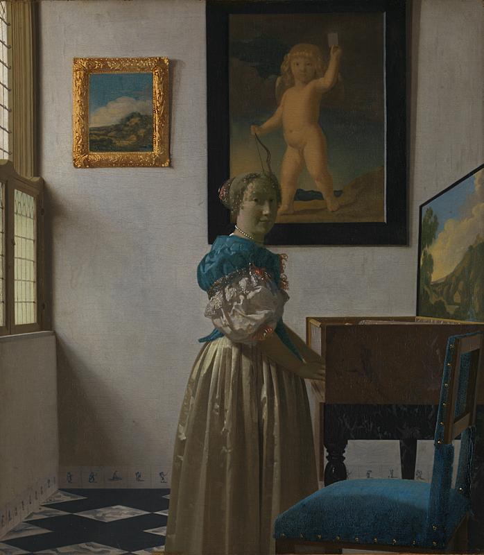 Giovane donna in piedi davanti al virginale di Johannes Vermeer - Foto National Gallery Londra